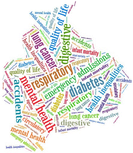 Health inequalities word cloud