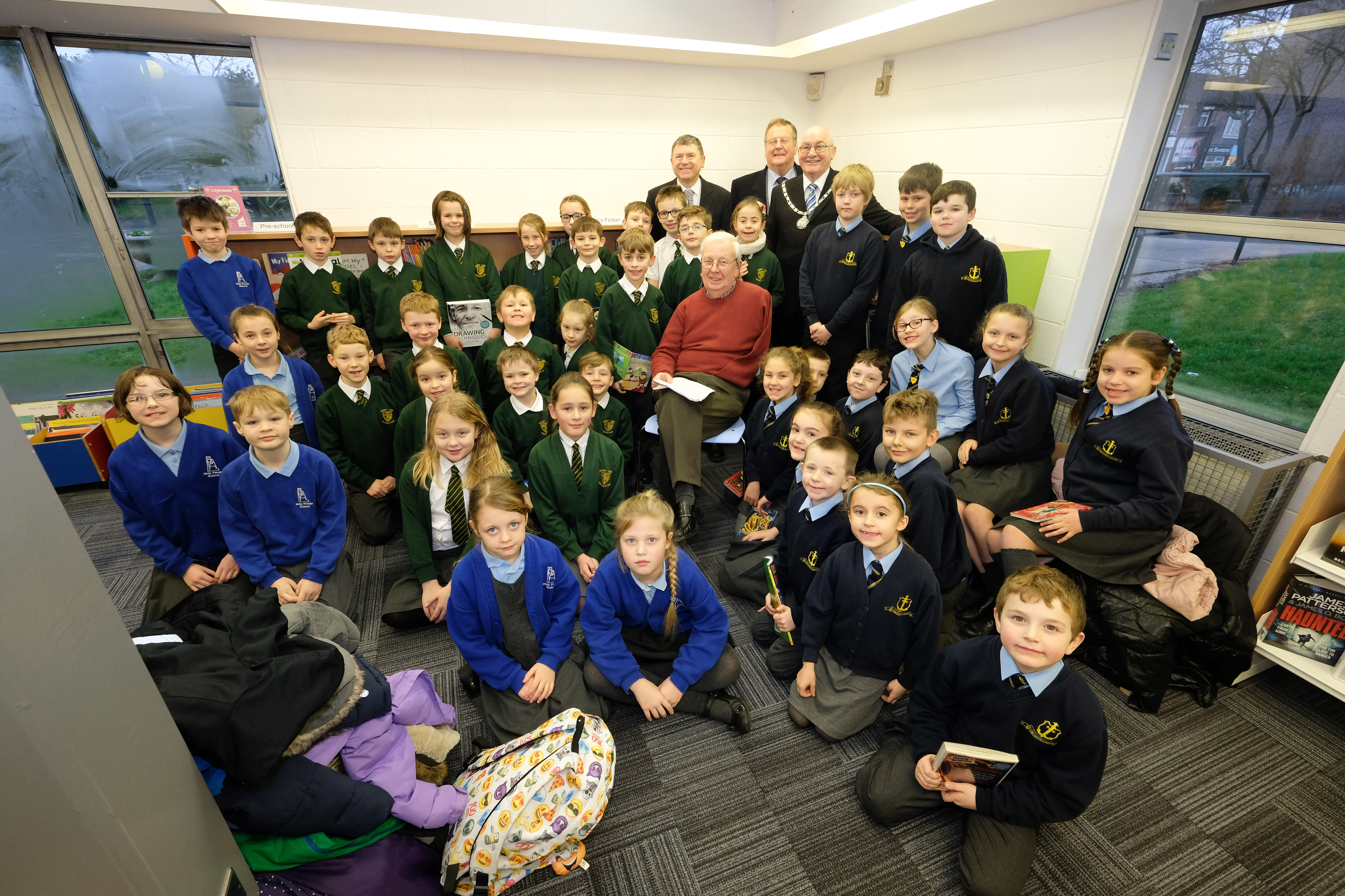 Local historian Peter Shakeshaft tells local school pupils all about the history of the library and education in Freckleton