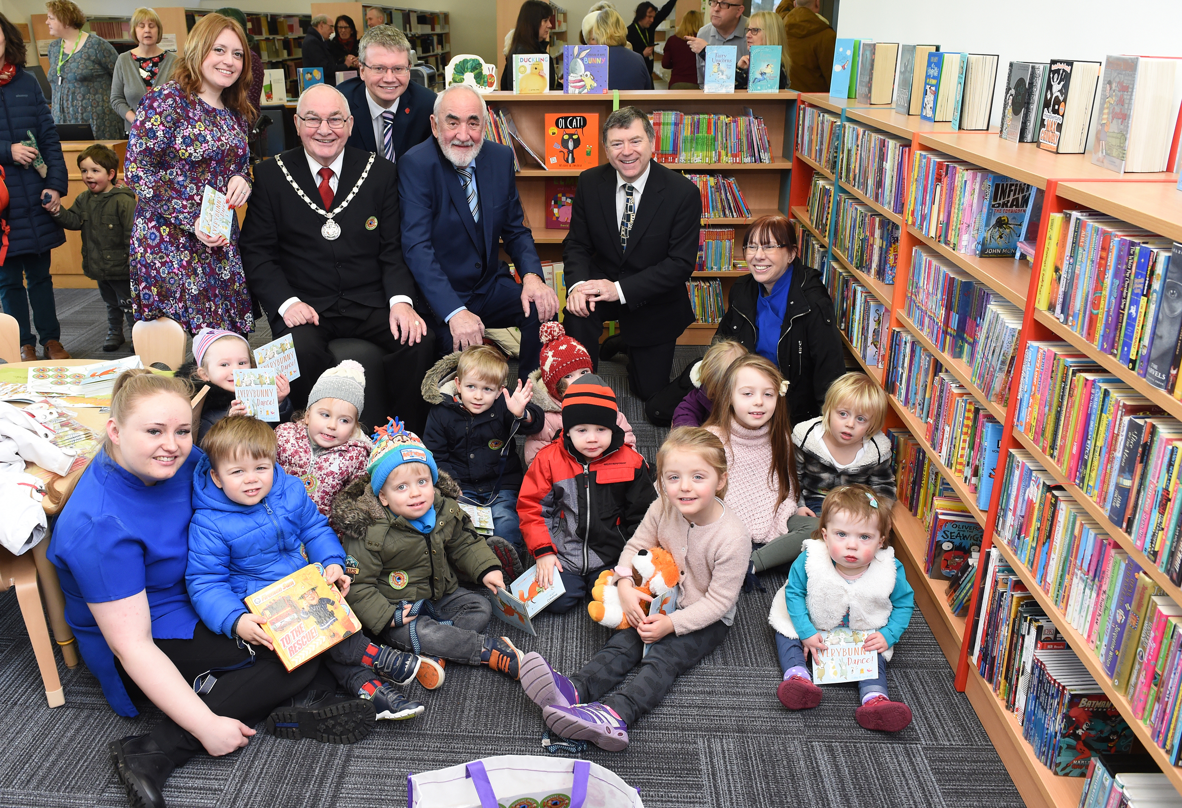Townley House Nursery School with Jill Connolly reading and learning development manager, the Chairman, County Councillors Michael Green, Jim Marsh and Peter Buckley