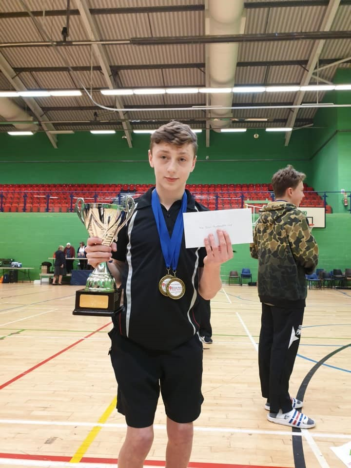 Theo Bishop with two bonze medals and player of the year trophy at British Para Table Tennis Competition 2018